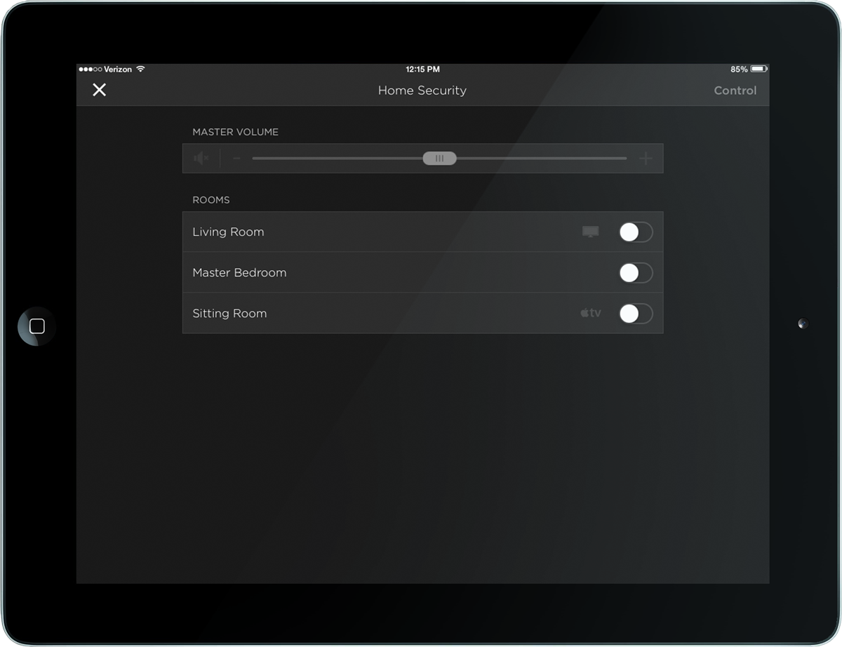 iPad security interface